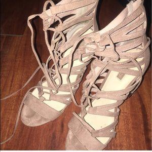 Suede baby pink heels